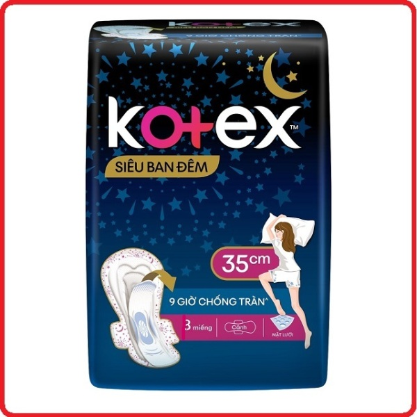 Băng vệ sinh Kotex siêu ban đêm 35cm siêu mỏng cánh gói 3 miếng cam kết hàng đúng mô tả chất lượng đảm bảo an toàn đến sức khỏe người sử dụng đa dạng mẫu mã màu sắc kích cỡ