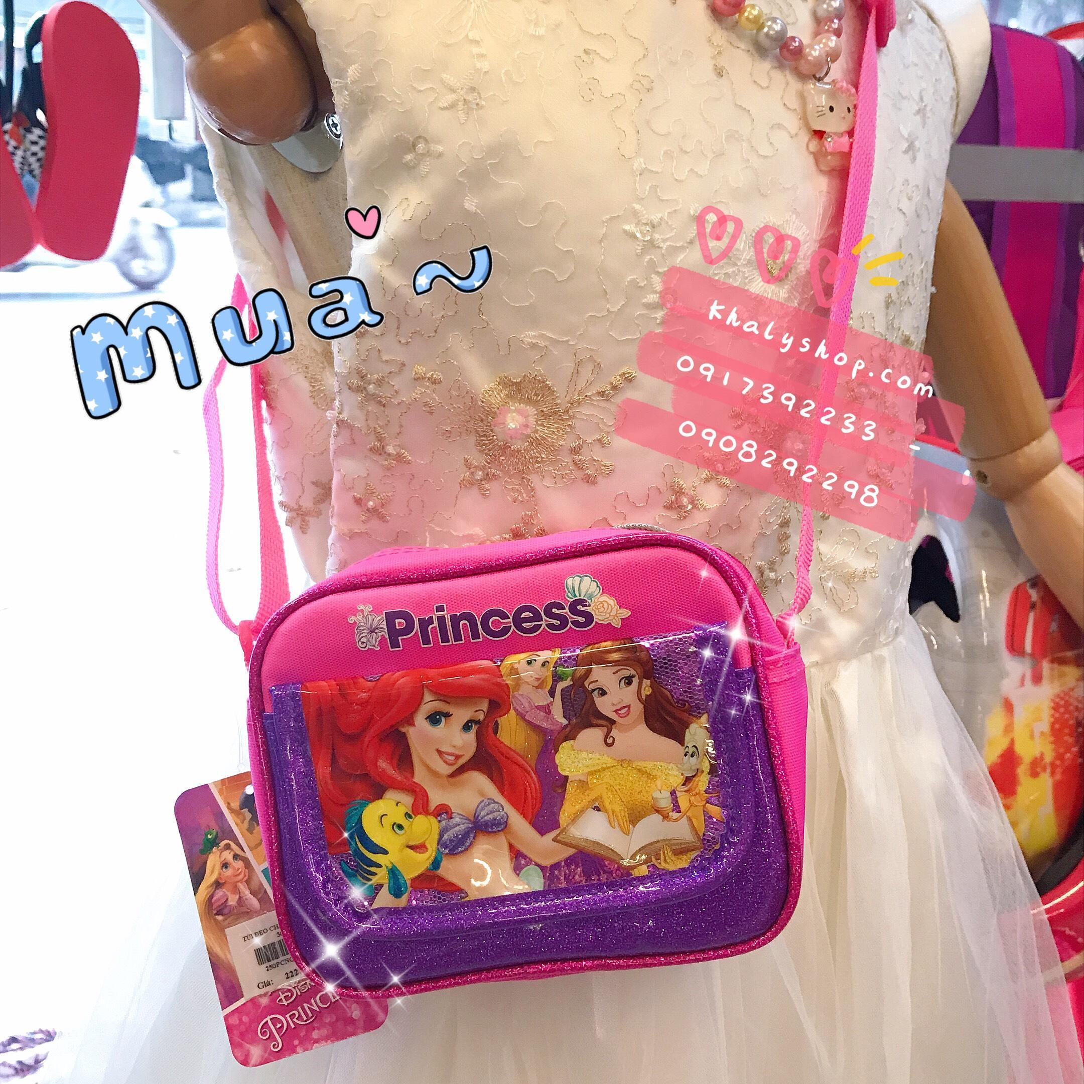 Giá bán Túi đeo chéo hình công chúa Princess Disney 2 ngăn màu hồng viền tím cho bé gái (Thái Lan) - 250PCNG3036199 - (14x4x11cm)