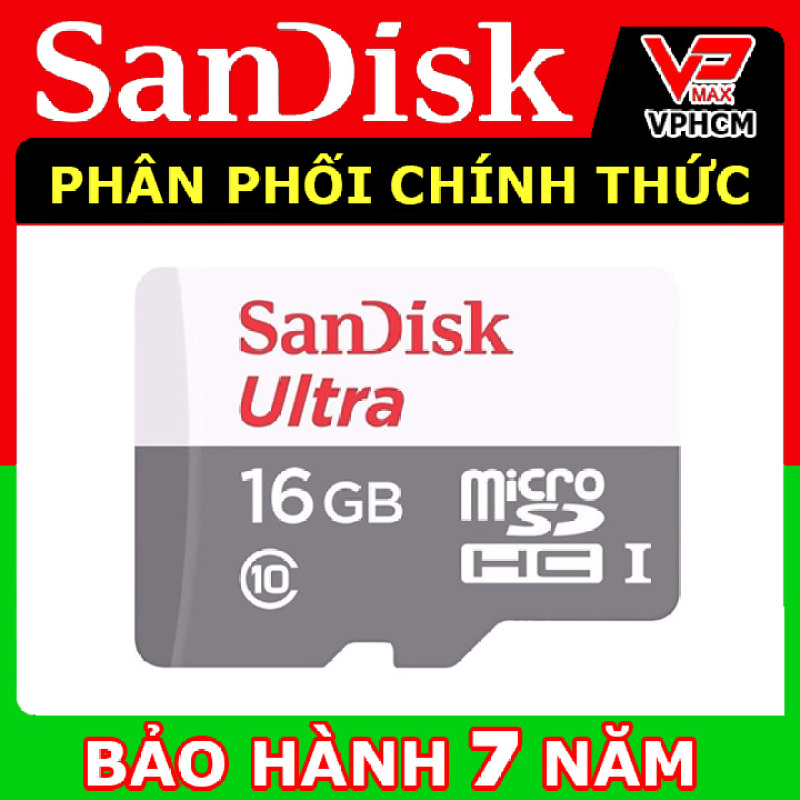 Thẻ nhớ 32GB - 16GB SanDisk MicroSDHC Ultra Class 10 - 80Mb/s dùng cho điện thoại camera