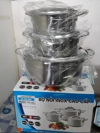 Bộ nồi inox 3 cái 1 đáy sử dụng bếp từ (tặng kèm chảo chống dính 22cm)