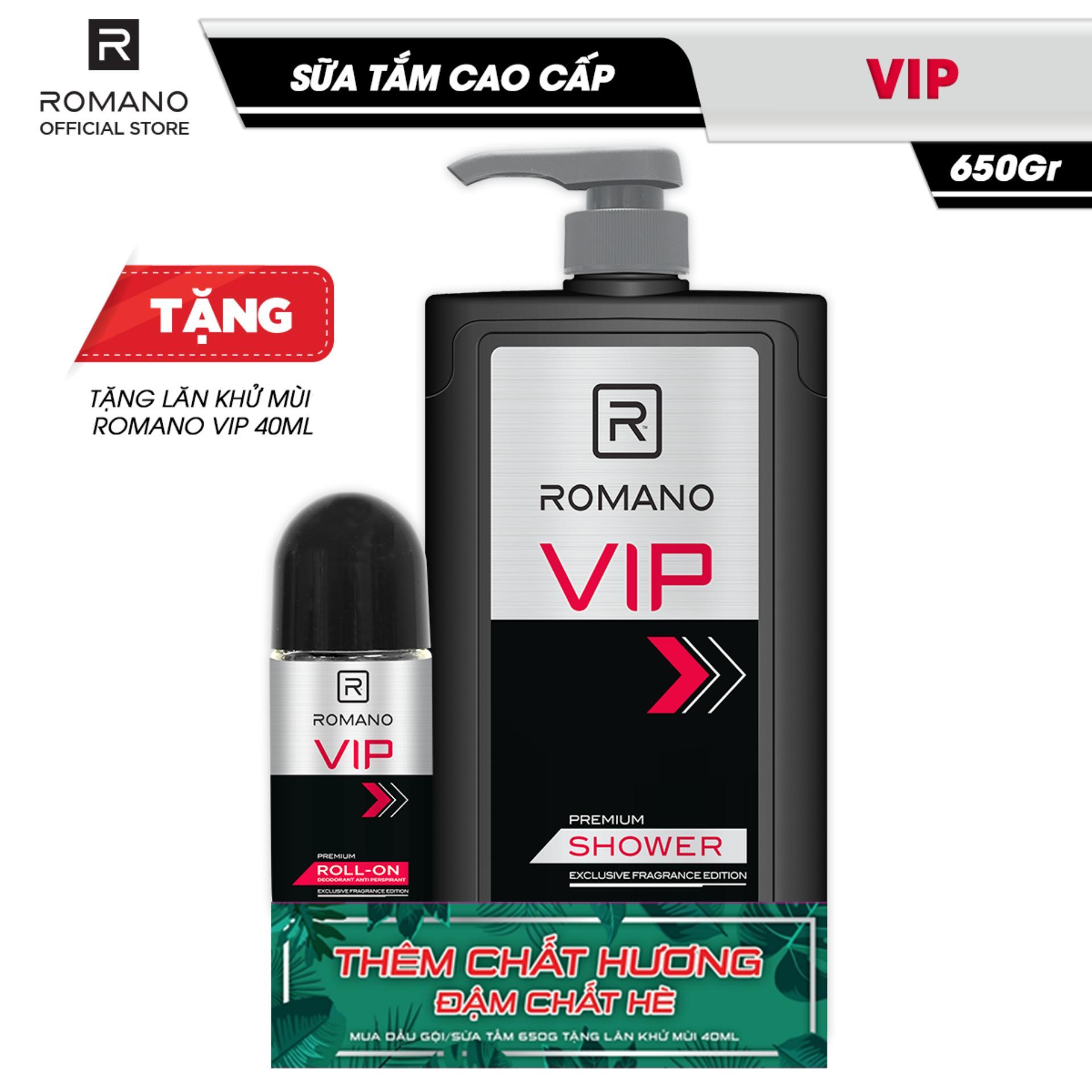 [Tặng Lăn khử mùi Romano VIP 40ml] Sữa tắm nước hoa Romano VIP 650g chính hãng