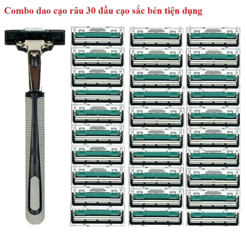 Combo dao cạo râu 30 đầu lưỡi kép sắc bén và 1 thân dao