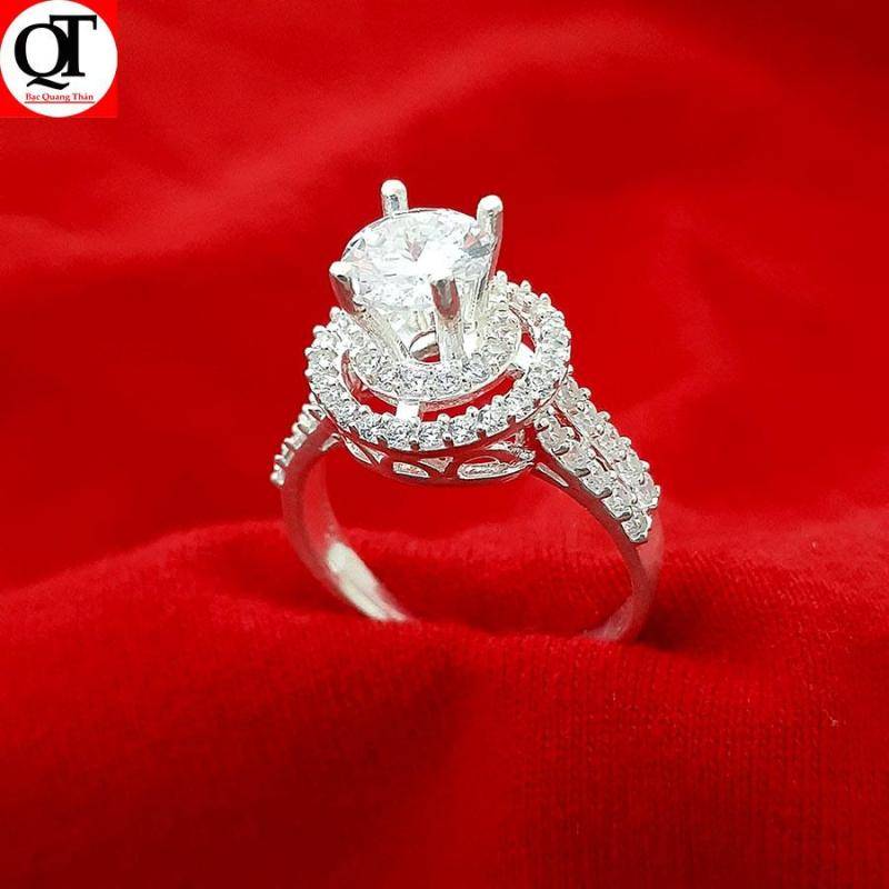 Nhẫn nữ Bạc Quang Thản, nhẫn nữ ổ cao gắn đá kim cương nhân tạo chất liệu bạc ta không xi mạ, không gỉ, không dị ứng da có thể chỉnh size tay theo yêu cầu – QTNU1A