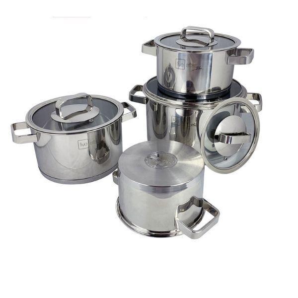 Bộ nồi inox 304 FiveStar Plus 3 đáy bếp từ 4 món nắp kính tặng 10 muỗng ăn inox