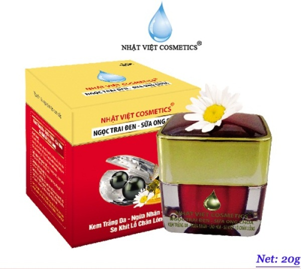 Kem trắng da ngừa nhăn ngăn lão hóa nhật việt cosmetics ngọc trai đen sữa ong chúa KEM NHẬT VIỆT COSMETICS V14 - 20g cao cấp