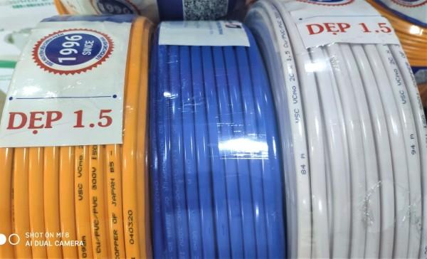 Bảng giá dây điện đôi 1.5 Vĩnh Thịnh (cuộn 100 mét) 2 Lớp Vỏ Bọc Cách Điện An Toàn, dây đồng 100%, dây điện đôi chịu tải cao