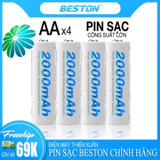 Pin Sạc AA Beston 2000mAh (Vỉ 4 Pin) Cho Micro Karaoke loa, đồ chơi trẻ em, đồng hồ, thiết bị điện tử, đèn flash, pin máy ảnh, xe điều khiển, đèn pin siêu sáng, loa kẹo kéo, pin sạc dung lượng cao thumbnail