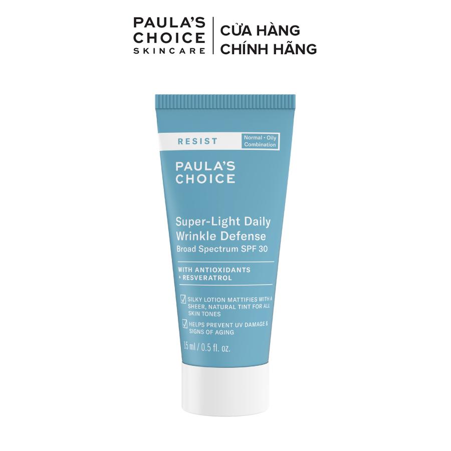 Kem chống nắng dưỡng ẩm đa năng siêu nhẹ không bết dính Paula's Choice Resist Super - Light Daily Wrinkle Defence SPF 30 15ml