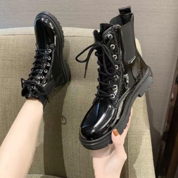 Giày cao cổ nữ, Bốt nữ da cao cấp dây buộc, giày nữ  cao cổ đi học , đi chơi giá rẻ