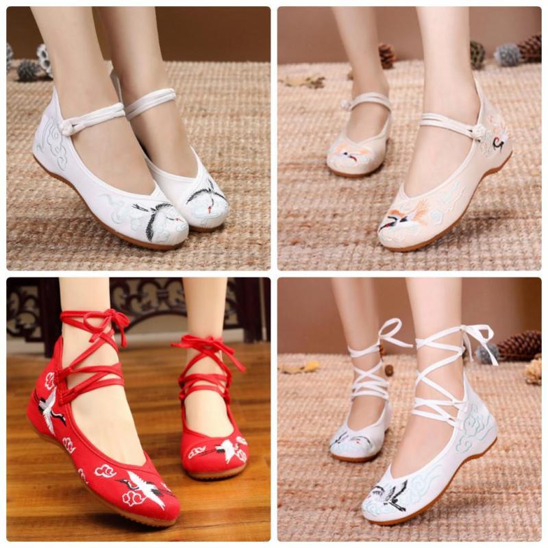 Giày thêu Hạc 3cm - Giày thêu cổ trang Trung Hoa giá rẻ