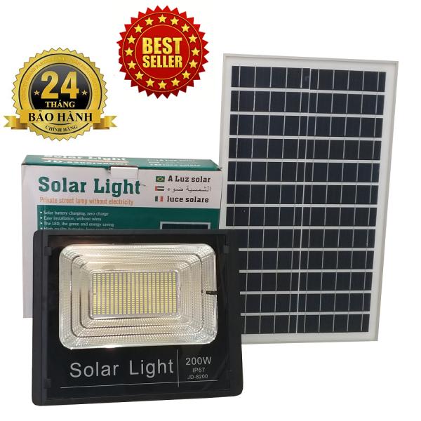 ĐÈN NĂNG LƯỢNG MẶT TRỜI SOLAR LIGHT JIDIAN JD-8200 công suất 200W công nghệ IP67 chống nước, Pin Lithium 36000mah, chế độ bật tắt tự động, có điều khiển từ xa