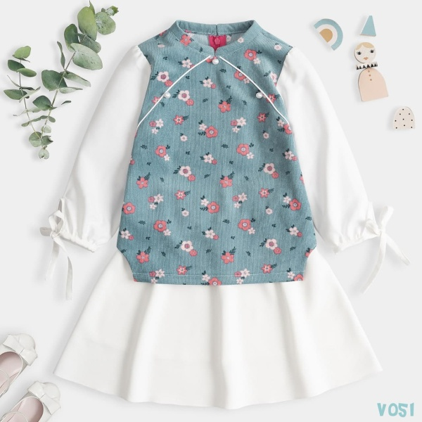 Giá bán Áo dài cách tân bé gái mặc tết Vải Nhung Tăm Siêu Đáng Yêu Thời Trang Cao Cấp