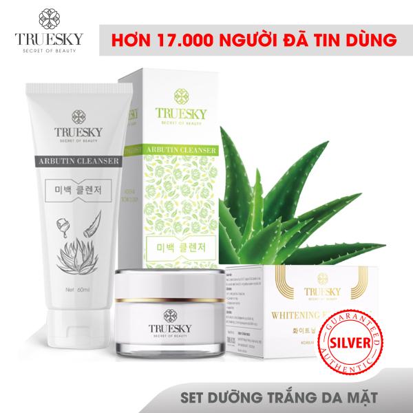 Bộ sản phẩm dưỡng trắng da mặt Truesky VIP07 gồm 1 sữa rửa mặt trắng da 60ml và 1 kem dưỡng trắng da mặt 10g giá rẻ