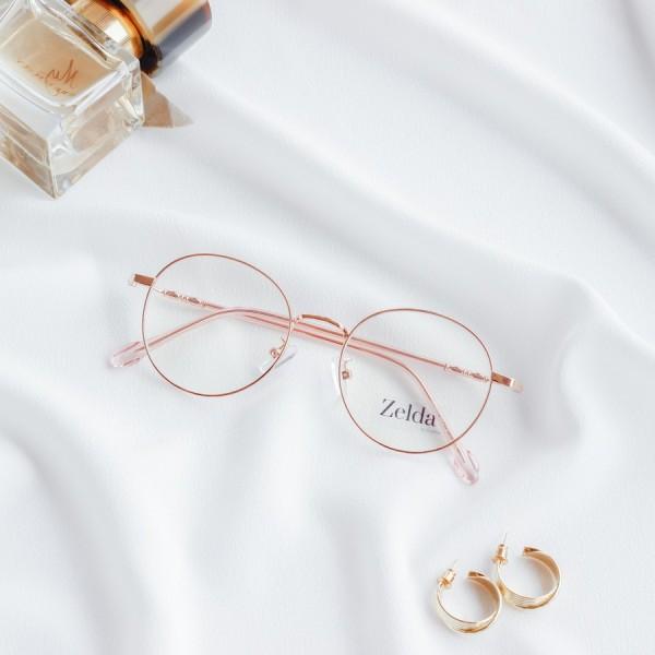 Giá bán [LẮP SẴN CẬN]Gọng kính cận nữ, gọng cận kim loại, mắt kính tròn, tròng kính chống ánh sáng xanh, đổi màu Z2999G