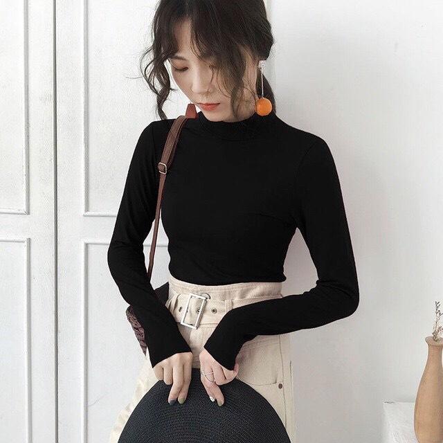 Áo len giữ nhiệt cổ cao 3 phân lót nỉ nhiều màu