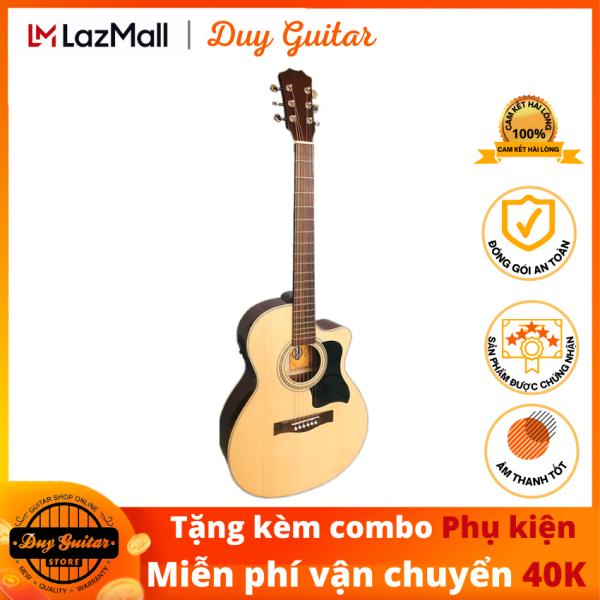 Đàn guitar acoustic DGAG-150X gỗ Hồng Đào có EQ, dáng A khuyết cho âm thanh tốt, cần đàn thẳng có ty, action thấp êm tay, tặng combo phụ kiện Duy Guitar