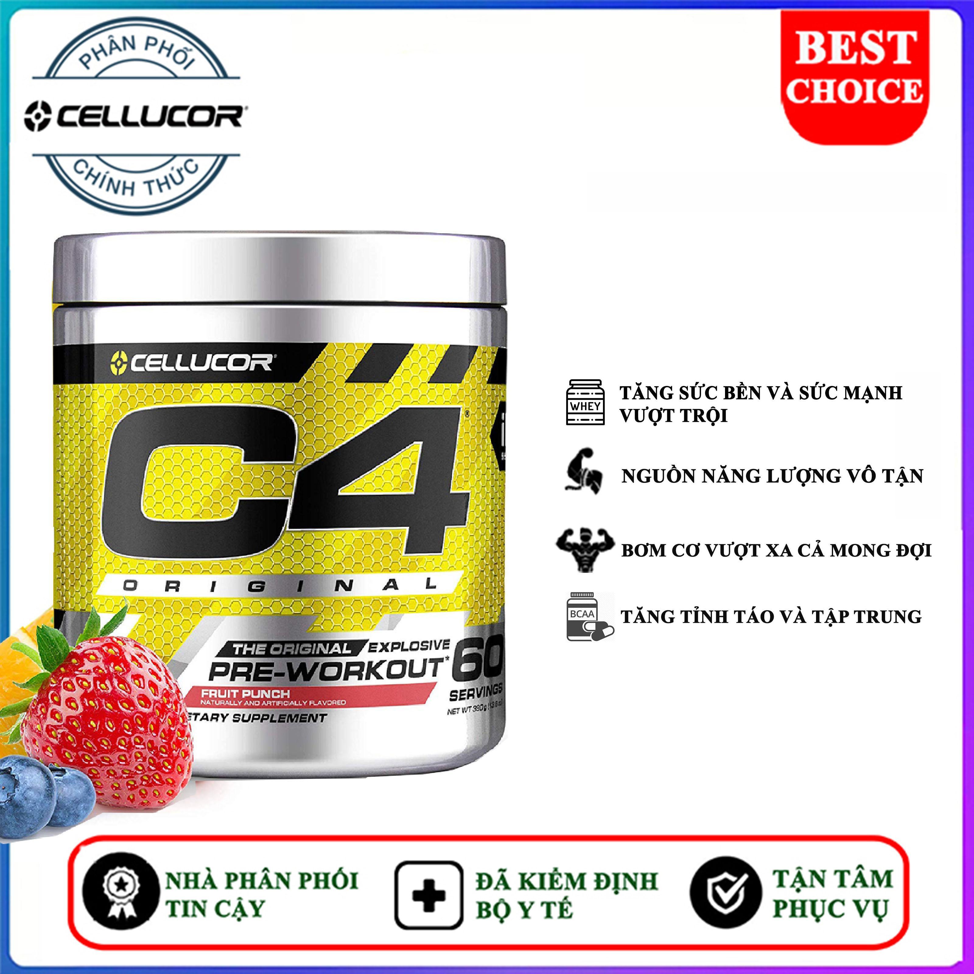 Pre Workout tăng sức mạnh C4 Original của Cellucor hỗ trợ tăng sức bền, sức mạnh vượt trội, bơm cơ tối đa, kéo dài buổi tập hoàn hảo, tập nặng hơn, khỏe hơn cho người tập gym và chơi thể thao cao cấp