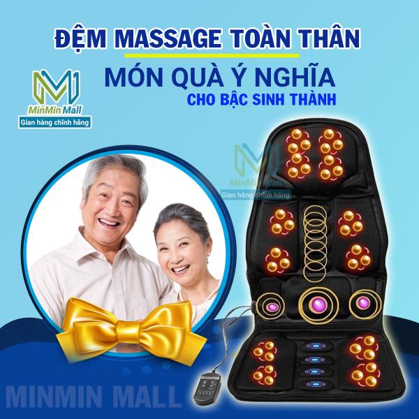( SIÊU SALE 50%) Nệm (Đệm) massage toàn thân - Ghế Mát Xa Đa Năng Toàn Thân giảm stress, lưu thông khí huyết, giảm đau nhức toàn cơ thể,  Massage trị đau vai gáy hiệu quả, Thích hợp sử dụng trên xe hơi, văn phòng ( BH 12 THÁNG )