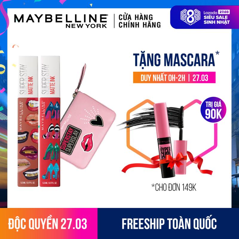 Bộ đôi son kem lì 16h lâu trôi Maybelline Superstay Matte Ink (Kèm túi xinh xắn) - Phiên bản giới hạn