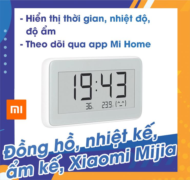 Đồng hồ, nhiệt kế, ẩm kế Xiaomi Mijia, kết nối điện thoại qua bluetooth, theo dõi lịch sử nhiệt độ độ ẩm chính hãng