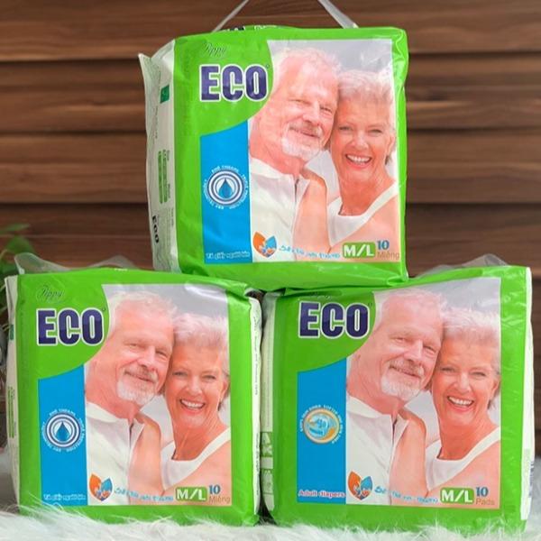 Bộ 3 gói tã, bỉm dán dành cho người lớn tuổi PEPPY ECO siêu thấm size ML 10 miếng/gói cao cấp