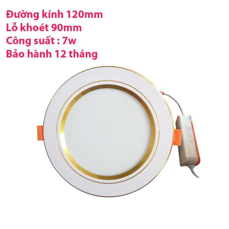 Combo 16  đèn led âm trần viền vàng 7w 2 màu 3 chế độ (trắng –vàng ấm – vàng nắng)