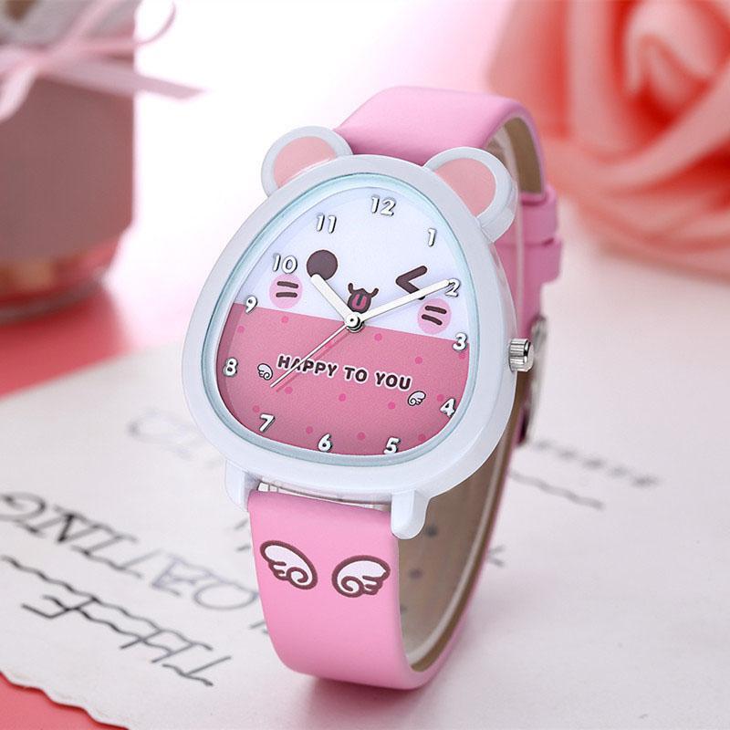 Đồng hồ kim trẻ em hình thú tai mèo nhiều màu giá tốt decoshop68 W07 bán chạy