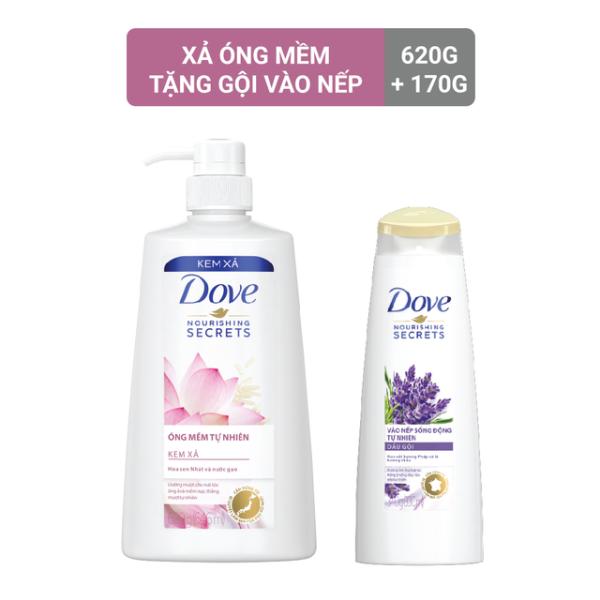 Kem xả Dove Óng mềm tự nhiên 620g + tặng kèm Dầu gội Dove Vào nếp sống động 170g cao cấp
