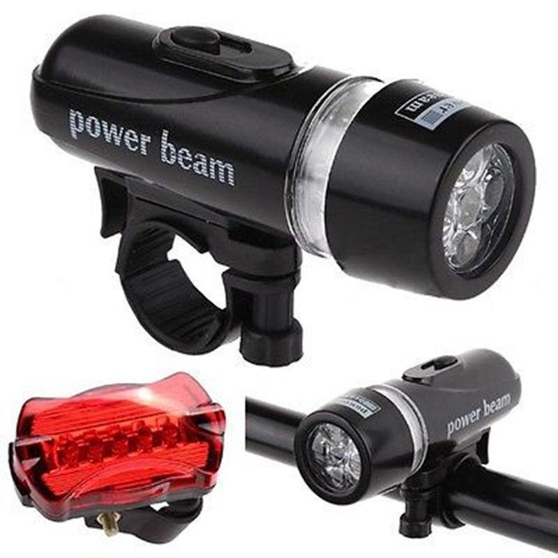 Đèn pin gắn xe đạp + Tặng kèm Đèn chiếu hậu 5 LED WJ-101 (Đen đỏ) - Nem Exclusive