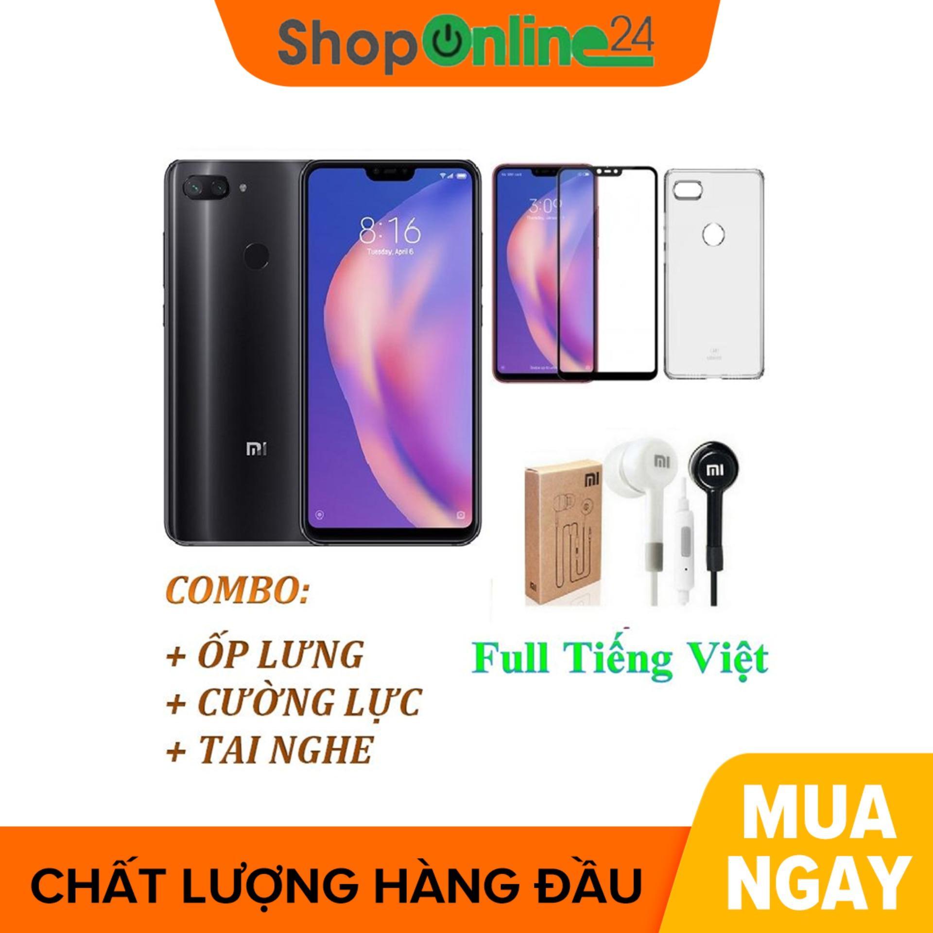 Xiaomi Mi 8 Lite 64GB Ram 4GB Đen (Full Tiếng Việt) + Ốp lưng + Cường lực + Tai nghe - Hàng nhập khẩu