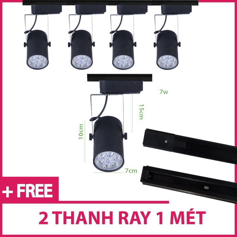 Bộ 5 đèn led rọi thanh ray 7w vỏ đen ánh sáng trắng /vàng và 2 thanh ray 1 mét màu đen