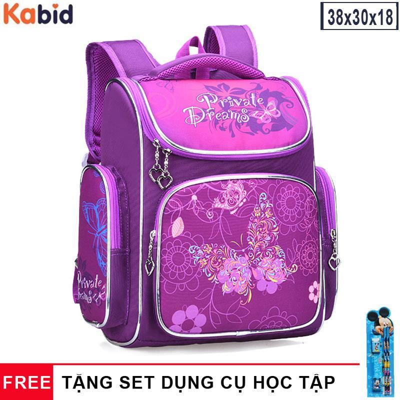 Giá bán Cặp balo học sinh chống gù lưng dáng hộp Kabid Shimbaby siêu nhẹ - tiểu học ( Tặng bộ dụng cụ học tập)