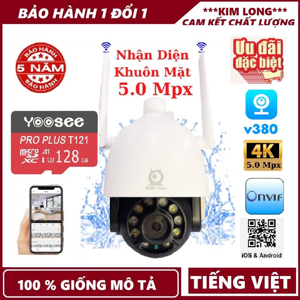 Bảo hành 5 năm,Tùy chọn thẻ nhớ 128GB -Camera wifi ptz ngoài trời V380 Pro C12 5.0 Mpx , xoay 360 độ , chống nước tuyệt đối , theo dõi chuyển động , camera ip ,camera ngoài trời , camera wifi , camera ptz, camera an ninh