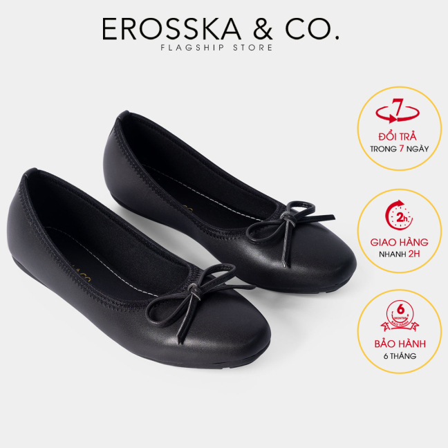 Giày búp bê thời trang Erosska mũi vuông kiểu dáng Hàn Quốc đế cao su da mềm đính nơ  ef006 (BA) giá rẻ