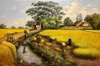 Tranh đồng quê mùa lúa gặt kèm khung tranh thumbnail