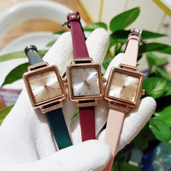 Đồng hồ nữ Julius JA-1314 dây da mặt vuông xinh xắn