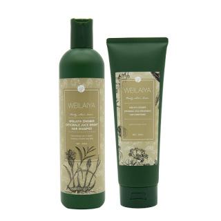 Combo bộ dầu gội xả gừng Weilaiya hà thủ ô ngăn rụng tóc kích mọc tóc dành cho tóc khô xơ tem màu nâu thumbnail