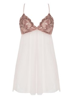Váy ngủ, đầm ngủ ren xuyên thấu cao cấp Corele V. gợi cảm, quyến rũ N025A màu Hồng phấn thumbnail