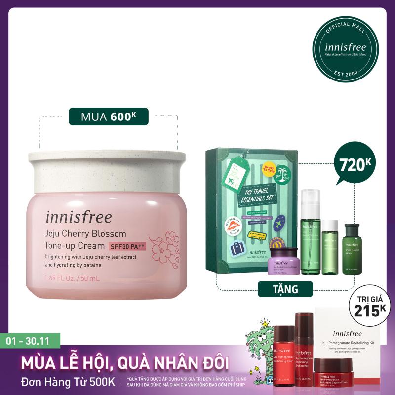 Kem dưỡng ẩm làm sáng chống nắng cho da innisfree Jeju Cherry Blossom Tone-up cream SPF30 PA++ 50ml giá rẻ