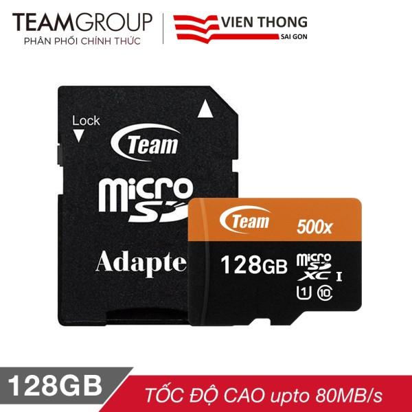 THẺ NHỚ MICROSDXC TEAM 128GB 500X UPTO 80MB-S CLASS 10 UHS