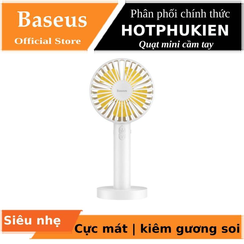 Quạt mini cầm tay Baseus Macarons Pin 2600 mAh 3 chế độ làm mát kiêm gương trang điểm  (Màu Ngẫu Nhiên, bảo hành 03 tháng 1 đổi 1) - Phân phối bởi Hotphukien