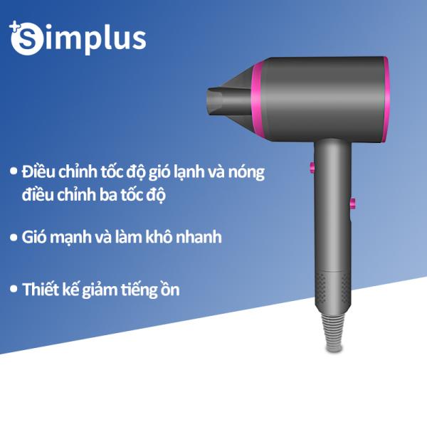 Simplus Máy sấy tóc tạo kiểu tóc 3 tốc độ điều chỉnh 1250W  tiện lợi cho gia đình du lịch Nhiệt Độ Không Đổi Tiếng Ồn Thấp cao cấp