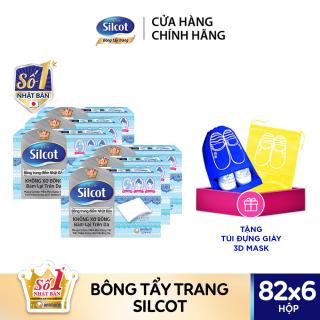 [Tặng Túi Đựng Giày] Bộ 6 Hộp bông trang điểm (Bông tẩy trang) cao cấp Silcot Premium 82 miếng hộp thumbnail