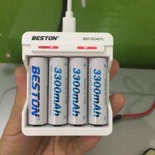 Bộ 4 pin sạc Beston chính hãng (vui lòng bấm vào mục Lựa chọn để chọn loại pin AA 3300mAh hoặc AAA 1300mAh hoặc sạc) Pin dung lượng cao 1.2V chuyên dùng cho thiết bị dùng pin 1.5V , Bộ sạc pin Tự ngắt Có đèn báo pin đầy thumbnail