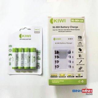 Combo 4 pin sạc AA Ni - MH Kiwi 3300mAh và bộ sạc pin đa năng - hàng chính hãng thumbnail