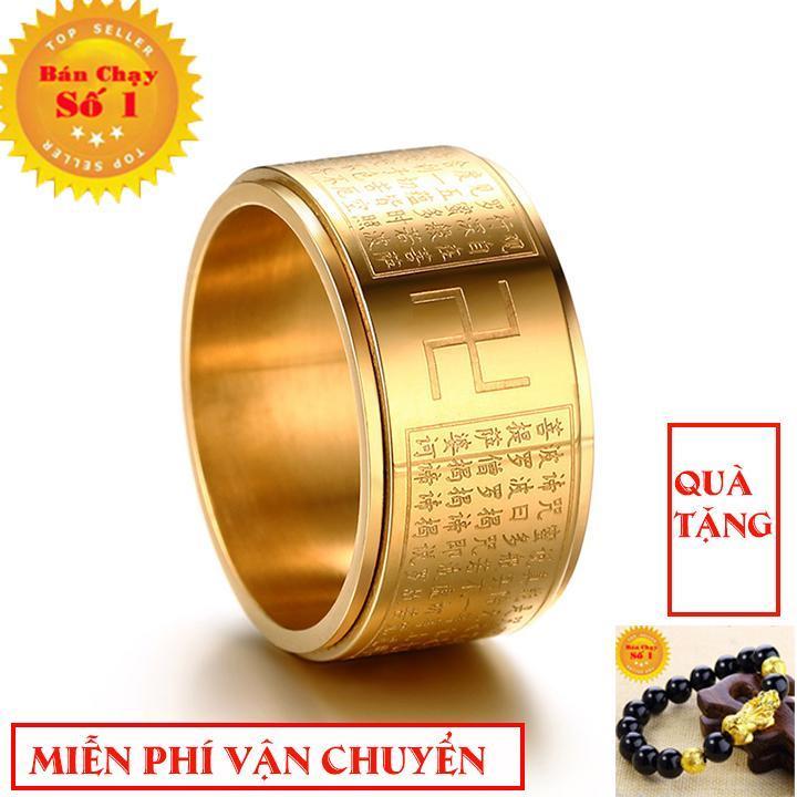 Nhẫn xoay BÁT NHÃ TÂM KINH khắc chữ VẠN không đen xoay 360 độ - Phong Thủy Titan tặng vòng tay tỳ hưu vàng Nhật Bản