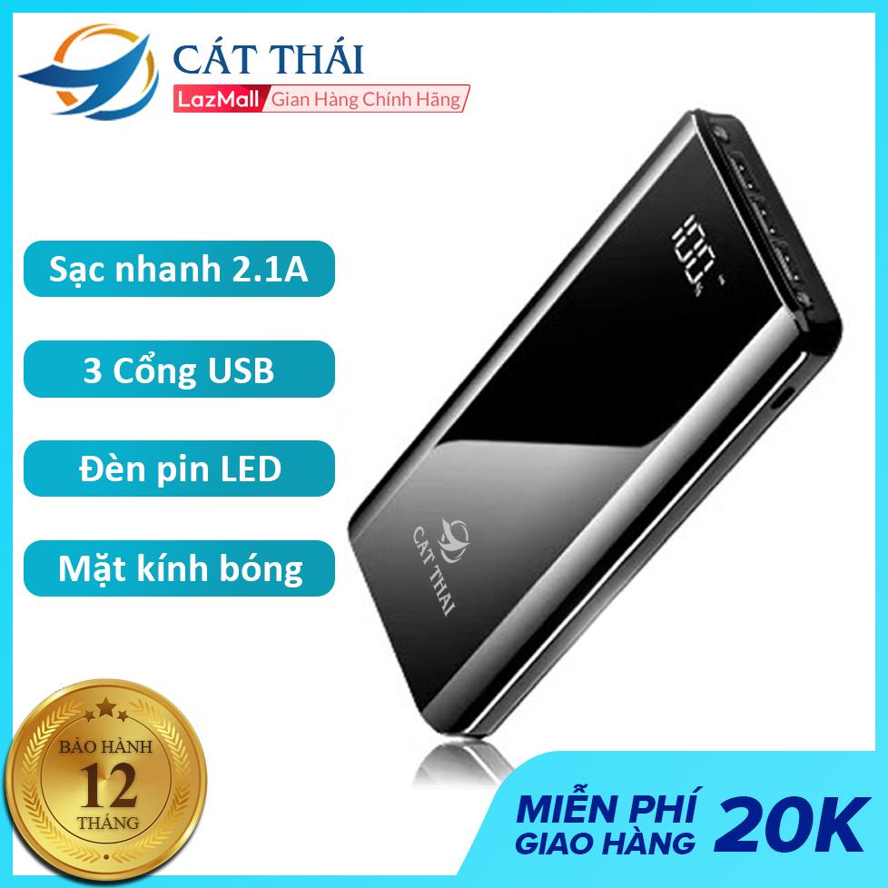 Pin sạc dự phòng Cát Thái K29 20400mAh Lithium Polymer thích hợp dùng cho các dòng điện thoại IPhone và Android Sạc nhanh 2A, 3 cổng USB, 2 đèn LED