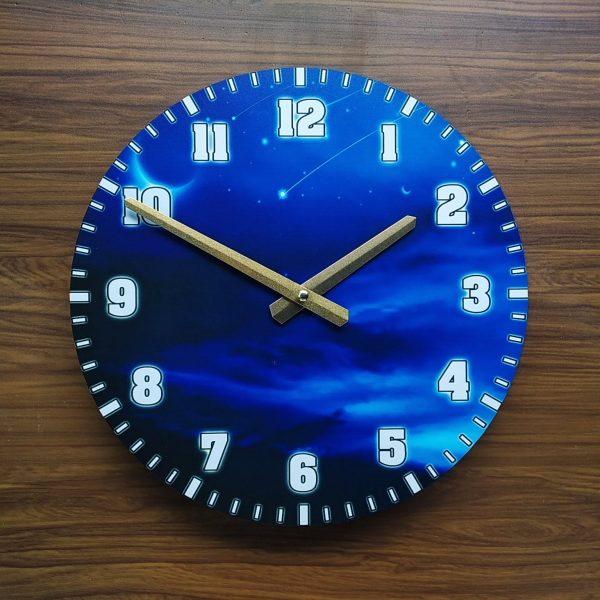 Nơi bán Đồng hồ treo tường gỗ tròn - hình đêm trăng - Size 30cm -  Đồng hồ treo tường cao cấp