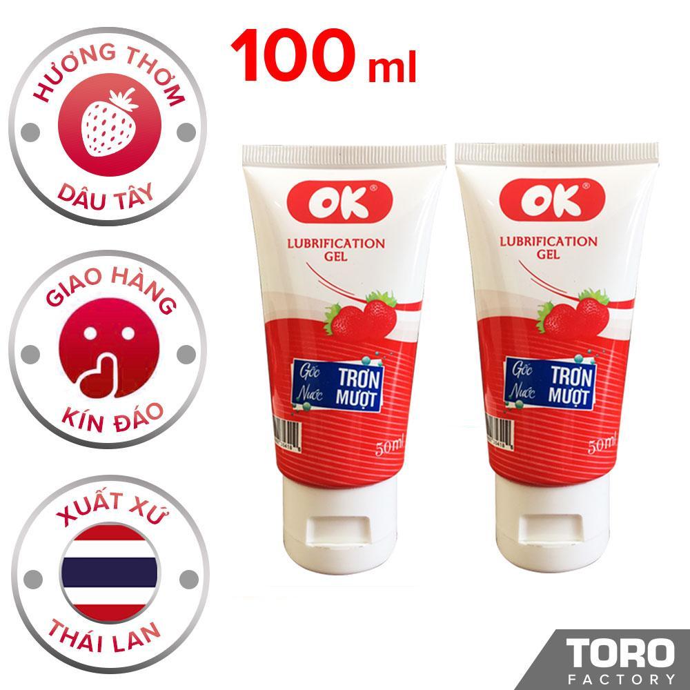 [Hương Dâu] [100ml] Bộ 2 Gel Bôi Trơn Thái Lan OK hương dâu gốc Nước, Chống Khô Rát - Toroshop