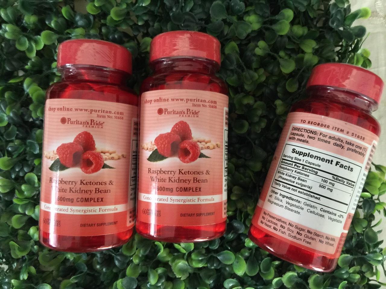 Viên uống hỗ trợ giảm cân Puritan's Pride Raspberry Ketones & White Kidney Bean 600mg Complex 60 viên HSD: 11/2019